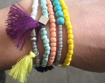 Summer seed bead friendship stackable bracelets of 5
