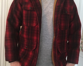 1960's Woolrich red black wool hunting coat mens M excellent condition