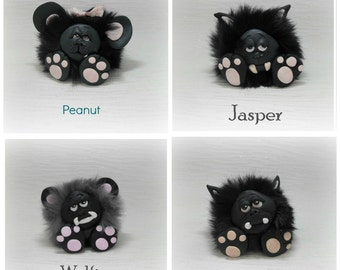 Furry Monster Collectables, Faux Furball  Creatures, Polymer Clay - 4 choices *not toys*