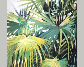 Palm Leaves Wall Art, Painting Of Fern Leaves, Luxury Palm Tree Home Decor, Original Tropical Plant Art, Original Palm Tree Art