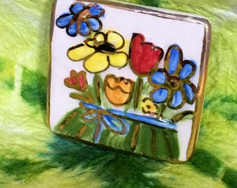 Artisan hand painted Floral Brooch