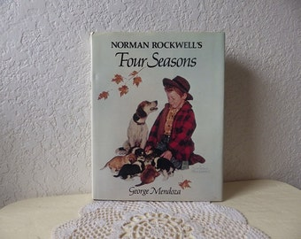 Norman Rockwell's Four Seasons Illustrated Book, 1982, Hardcover with Dust Jacket in Very good condition