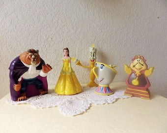 Beauty and the Beast large rubber figures plus Luminere, the Candelabra