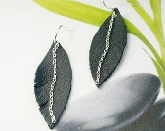 EARRINGS LEATHER BLACK Leaf, Sterling Silver