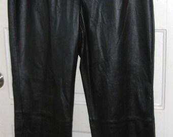 SALE 90s Women Black Leather Pants