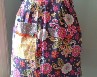 Half Apron with Birds and Flowers