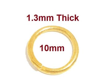 300 pcs Gold Plated Open Jump Rings - 10mm - 16 Gauge (1.3mm Thick)