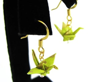 """Winter Sale Tiny Origami Crane Earrings Spring Green and Gold 3/4"""""""