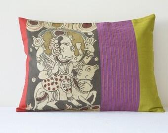 Ganesha Hand Painted Kalamkari Cushion Cover, Ganesha Kalamkari Pillow , Indian God Ganesha Decorative Pillow Cover , Elephant God Ganesha