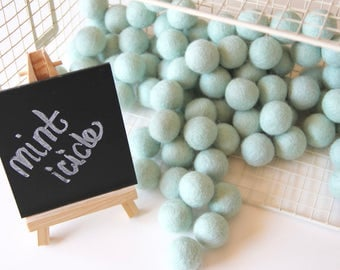 Felt Balls- Mint Icicle- 10 Pk- 25mm