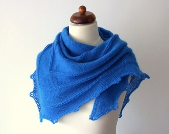knitted blue scarf, triangle shawl, cozy knit wrap, blue neckwarmer