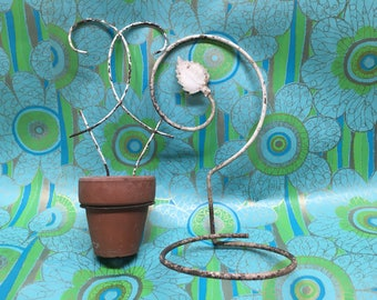Plant Hanger Sconce Wrought Iron Vintage Garden Chippy White Pair