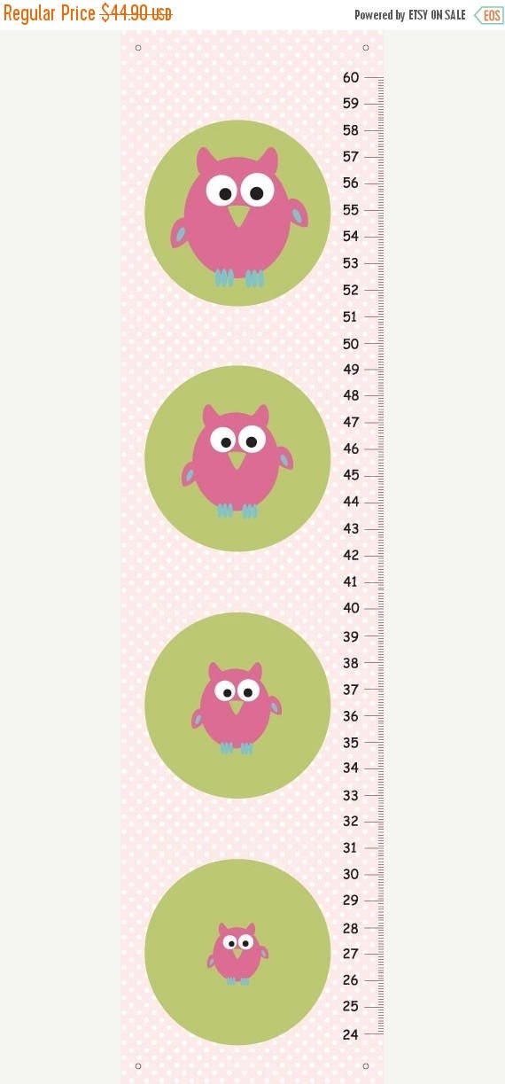 SPRING SALE Personalized pink owls Growth Chart for girls