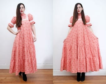 Vintage Laura Ashley Floral Trapeze Smock Full Circle High Neck Maxi Dress 70's RARE