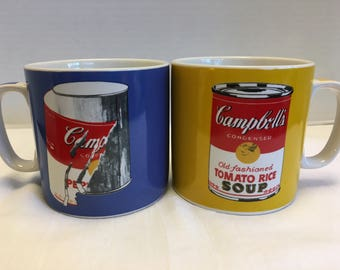 Vintage Set of Two Andy Warhol Campbell's Soup Mugs Coffee Mugs Artist Signature Block Art