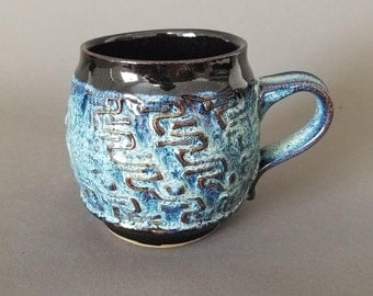Wavy Textured Coffee Mug in Gloss Black Blue Green Teal Speckles