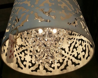 White Crystal Chandelier. So gorgeous!  Black,Brown, Grey or Turqoise also available...