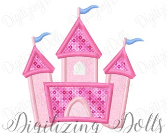 Princess Castle Applique Machine Embroidery Design 4x4 5x7 6x10 Prince King Queen Royal INSTANT DOWNLOAD