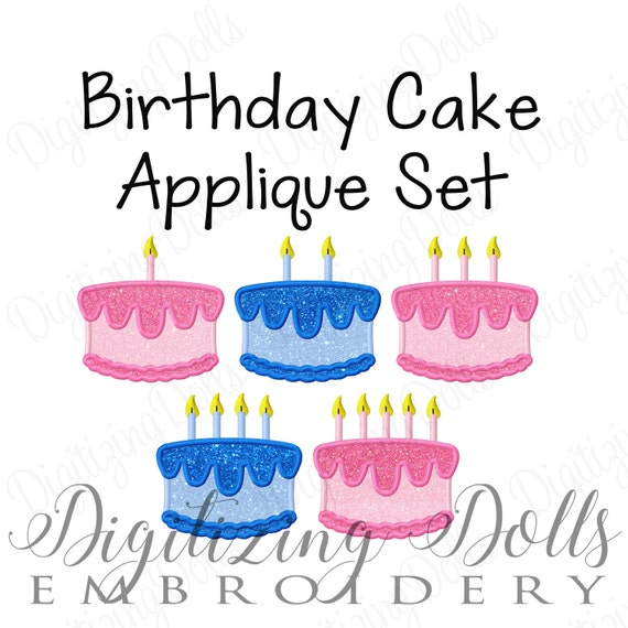Birthday Cake with Candles Applique Embroidery Design Set 3x3 4x4 5x5 Party INSTANT DOWNLOAD