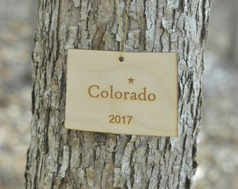 Natural Wood Colorado State Ornament WITH 2017