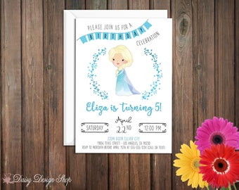 Birthday Party Invitations - Queen Elsa and Laurel in Watercolor Style - Frozen Princess - Set of 20 with Envelopes