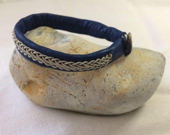 Sami Lapland Reindeer Leather and Braided Pewter Bracelet: Geardni Navy