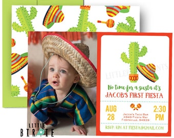 FIESTA Birthday Invitation - Fiesta First birthday invitation (any age) - Mexican Fiesta Invitation -  Fiesta first birthday invitation