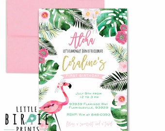 Flamingo Birthday Invitation - Luau Birthday Invitation - Hawaiian Birthday party Invitation - Flamingo Palms Invitation Summer flamingo