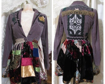 Velvet Patchwork Coat, long jacket upcycled boho coat bohemian jacket patchwork gypsy coat hippie coat renaissance patchwork coat SMALL