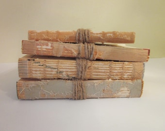 Rustic Unbound Books // Vintage Books Tied with Twine, Urban, Rustic Decor, Choose 2 - 6 Books