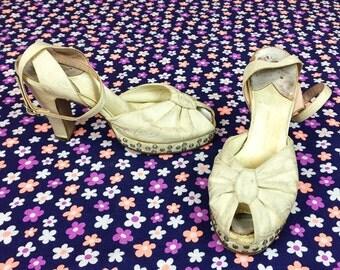 40's white rhinestone platform high heels 1940's crystal studded peep toe ankle strap platforms pumps / wedding / paisley satin size 7 M