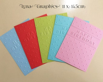 EMBOSSED CARDSTOCK 41/4 x 51/2 inches 5 pack Happy Birthday