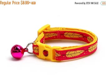 ON SALE Feather Cat Collar - Yellow Bird Feathers on Bright Pink - Small Cat / Kitten Size or Large Size