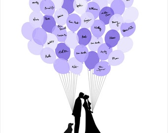 Wedding Guest Book, Personalized Guest Book with Balloons, Wedding Guestbook, Bride Groom and the Dog Silhouettes - DIGITAL PRINTABLE JPEG