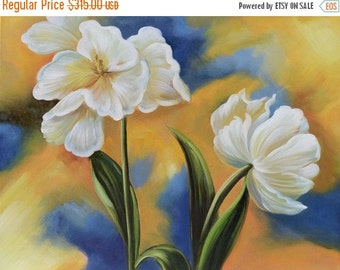 70%Off & Free Shipping ORIGINAL Oil Painting A New Beginning 23 x 30 Flowers White TulipGolden  Modern Green Blue  Realism ART by Marchella