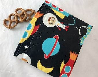 Reusable Snack Bag - Reusable Baggie Snack Bag - Fabric Snack Bag - Reusable Fabric Snack Bag - Reusable Baggie Space Explorers Out in Space