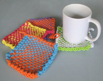 Mug Rug, Coffee Mug Rugs, Retro Mug Rugs, Potholder, Retro Potholders, Many Colors and Ready to Ship, Handmade