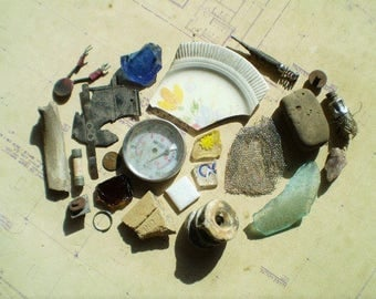 22 Found Objects for Altered Art, Sculpture, or Assemblage - Salvaged Supplies - Bone Metal Stone Ceramic Plastic Glass