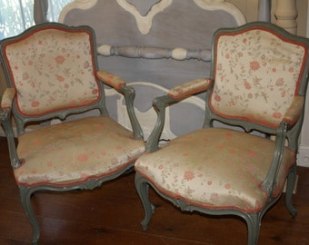 Antique Upholstered Chair Set of 2 Silk Chintz Floral Arm Chairs Solid Wood Frames French Salmon Floral Chintz Pattern Shabby Chic