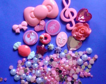 Kawaii decoden craft deco diy cabochon big pink bow girly starter kit  B20---USA seller