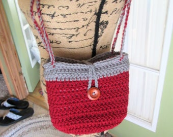 Fully lined crochet hobo purse, dark red and gray, wood button and loop closure