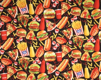 Fun Tossed Fast Food Print Pure Cotton Fabric--By the Yard