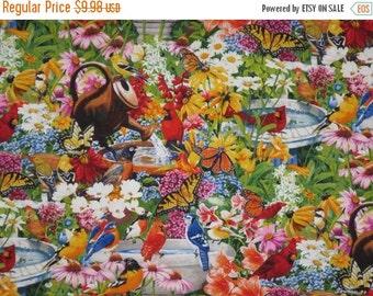 ON SALE Colorful Bird Bath Garden Print Pure Cotton Fabric--One Yard