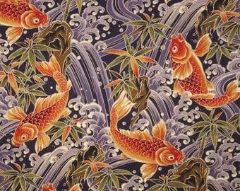 Koi fish etsy for Koi fish print fabric