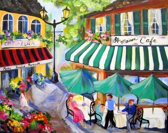 Cafe Large City Scene Original Painting 24 x 30 Art by Elaine Cory
