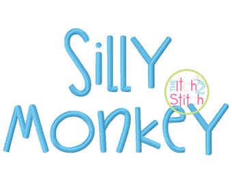 "Janda Silly Monkey Machine Embroidery Font 0.5"", 1"", 1.5"", 2"", 2.5"" and 3"" (upper and lower Aa-Zz, numbers and punctuation) INSTANT DOWNLOAD"
