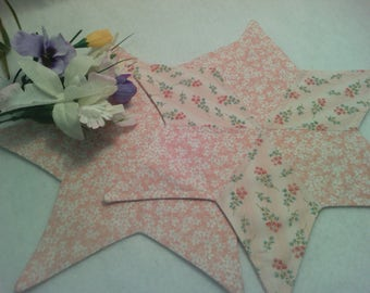 """Star Candle Mats and Table Runner ~ 2- 16 """" Stars ~ 1- 27"""" x 16.5"""" Table Runner ~ Set of 3 ~ Fabric ~ Machine Quilted ~ Table Quilt"""