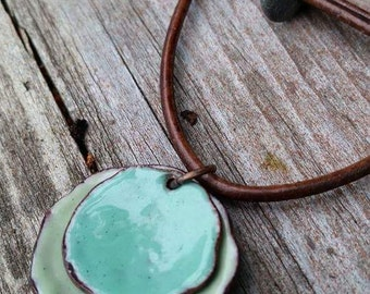 enamel choker necklace, torch fired enamel pendant, shell necklace, aqua necklace, adjustable leather cord, copper enamel jewelry, gift for