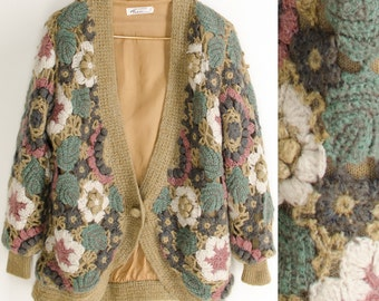 Retro Crochet Hand Knit Cocoon Cardigan 3D Flowers Slouchy Sweater Jacket Bohemian Jacket One Size