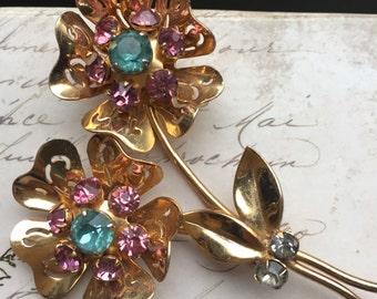 Vintage Mid Century  Gold Tone Flower Brooch, estate Jewelry, Rhinestone Floral Pin